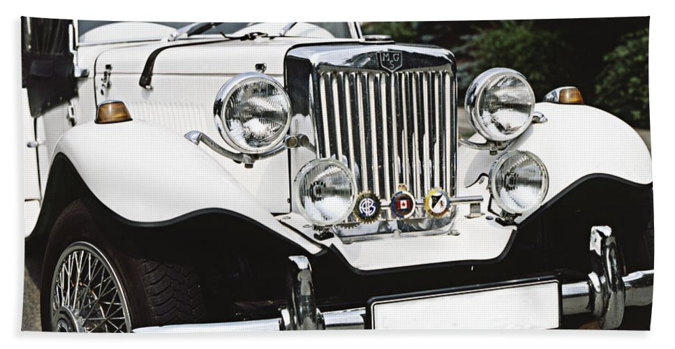 White Beach Towel featuring the photograph Mg Classic Car by Heiko Koehrer-Wagner