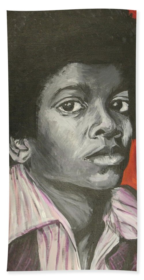 Michael Jackson Beach Towel featuring the painting Michael Jackson by Kate Fortin