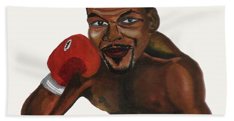 Portraits Beach Towel featuring the painting Mike Tyson by Emmanuel Baliyanga
