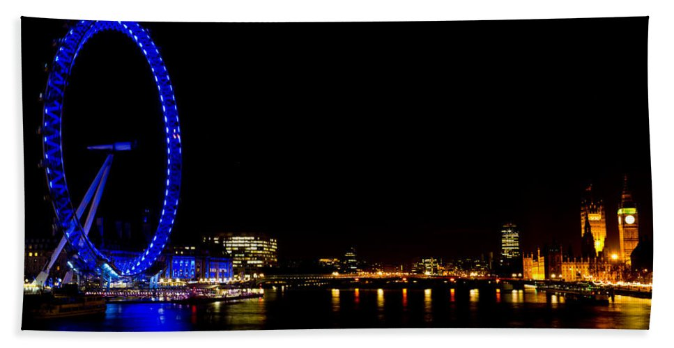 London Beach Towel featuring the photograph Millenium Wheel And London Night View by David Pyatt
