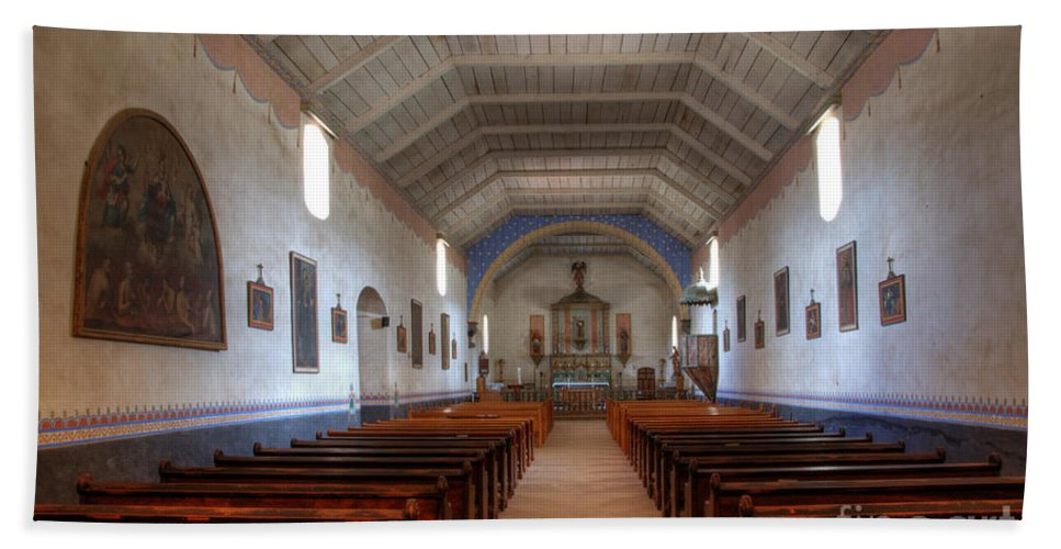 Mission Santa Ines Beach Towel featuring the photograph Mission Santa Ines 3 by Bob Christopher