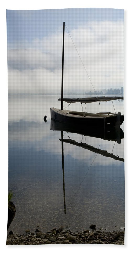 Lake Beach Towel featuring the photograph Misty Morning On Lake Bohinj by Ian Middleton