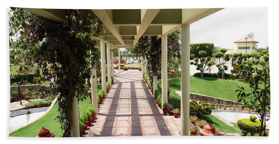 Way Beach Towel featuring the photograph Mix Of Light And Shade Under A Partially Covered Pathway With Pillars by Ashish Agarwal
