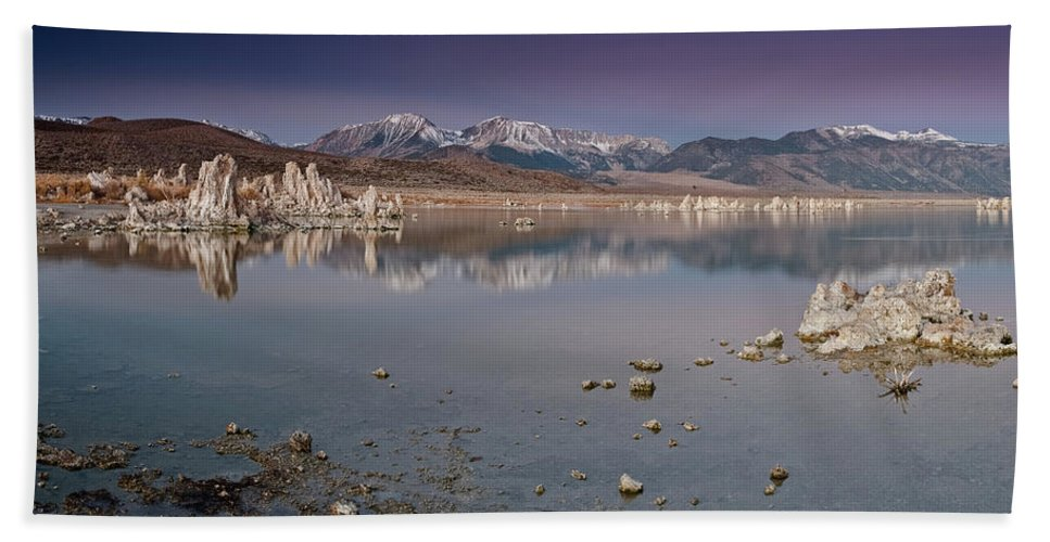 Lake Beach Towel featuring the photograph Mono Lake Panorama by Greg Nyquist