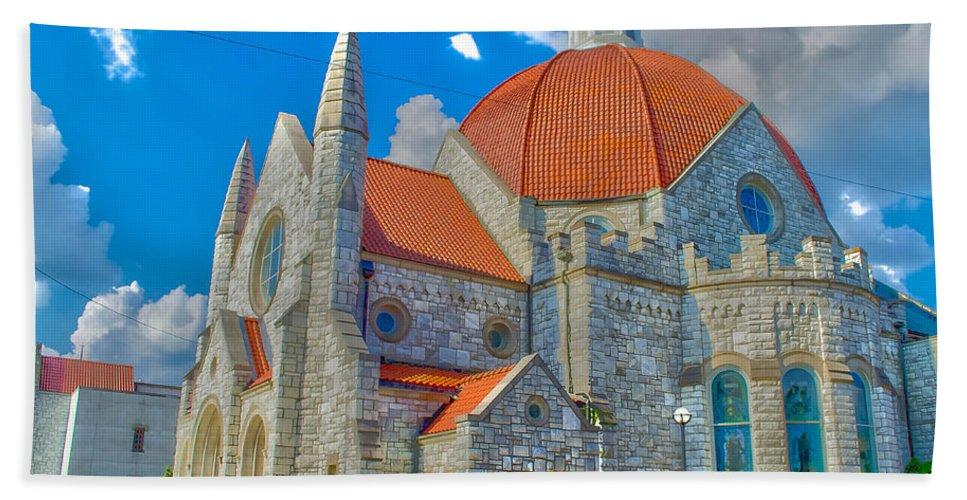 Church Beach Towel featuring the photograph Montgomery Baptist Church Hdr by Shannon Harrington
