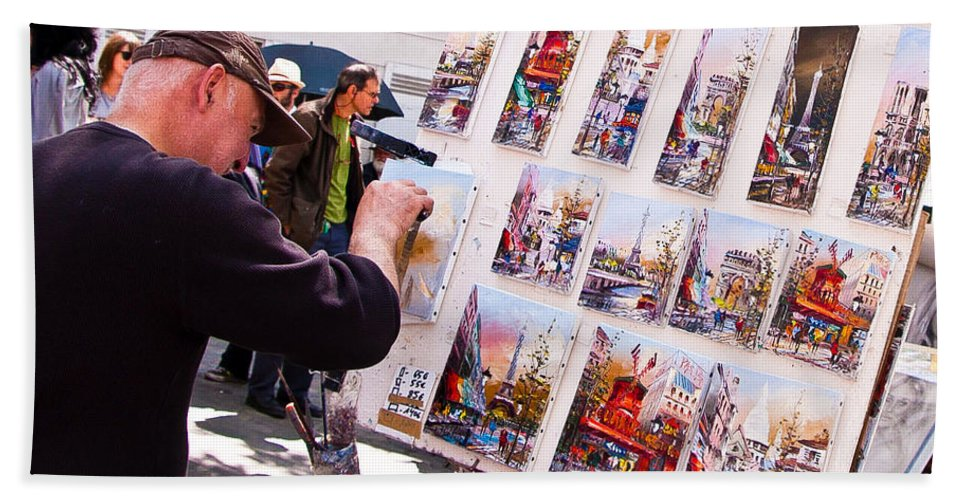 Montmartre Street Artists Beach Towel featuring the photograph Montmartre Street Artists by Jon Berghoff