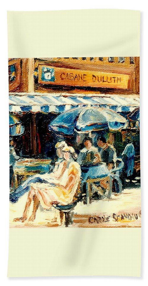Montreal Beach Towel featuring the painting Montreal Cafe City Scenes Prince Arthur And Duluth Street by Carole Spandau