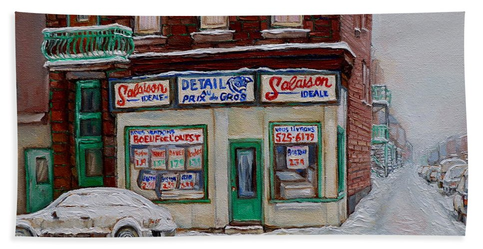 Montreal Beach Towel featuring the painting Montreal Corner Market Winter Scene by Carole Spandau