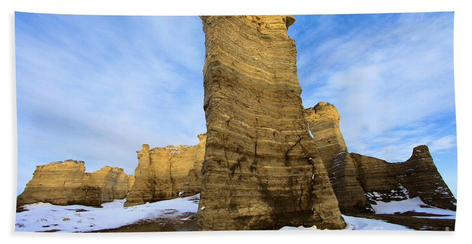 Monument Rocks Beach Towel featuring the photograph Monument Rocks by Adam Jewell