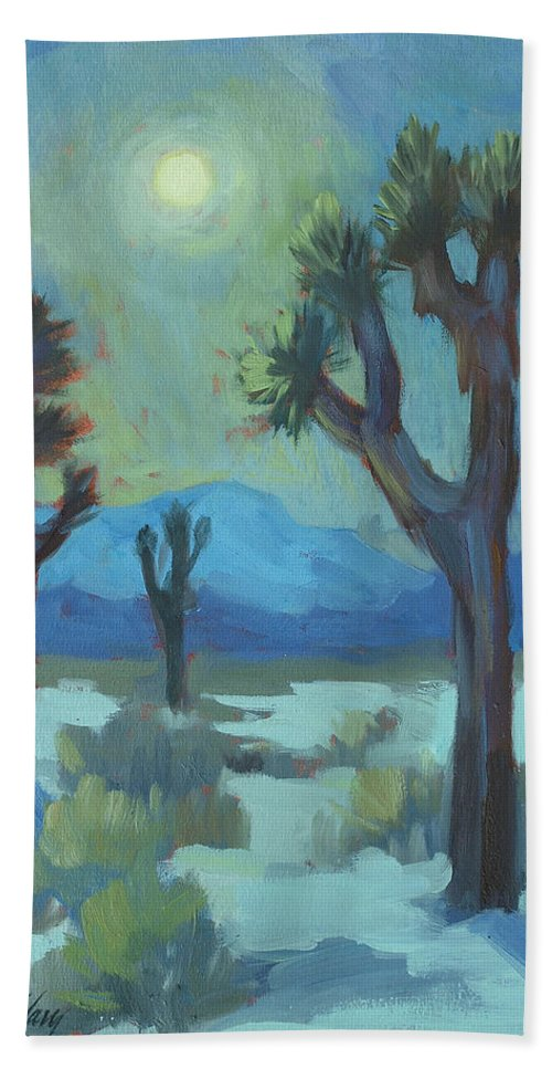 Moon Shadows Beach Towel featuring the painting Moon Shadows At Joshua by Diane McClary