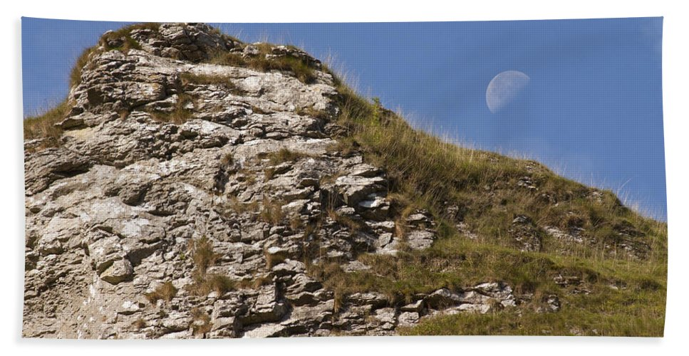 Moon Beach Towel featuring the photograph Moonlit Day by Ian Middleton