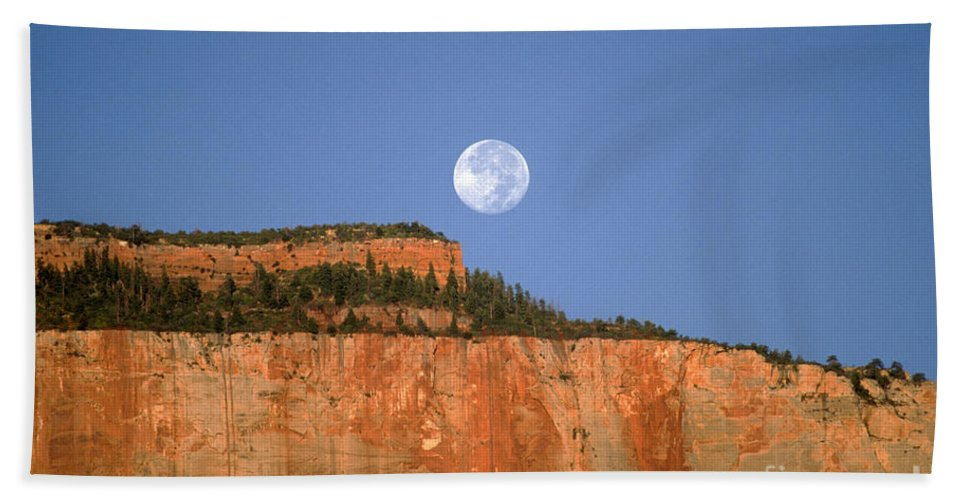 Zion National Park Beach Towel featuring the photograph Moonrise Over East Temple - Zion by Sandra Bronstein