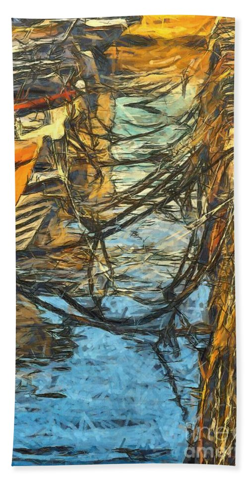 Moorings Beach Towel featuring the painting Moorings by Dragica Micki Fortuna