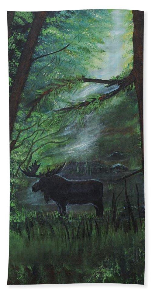 Moose Beach Towel featuring the painting Moose In Pines by Leslie Allen