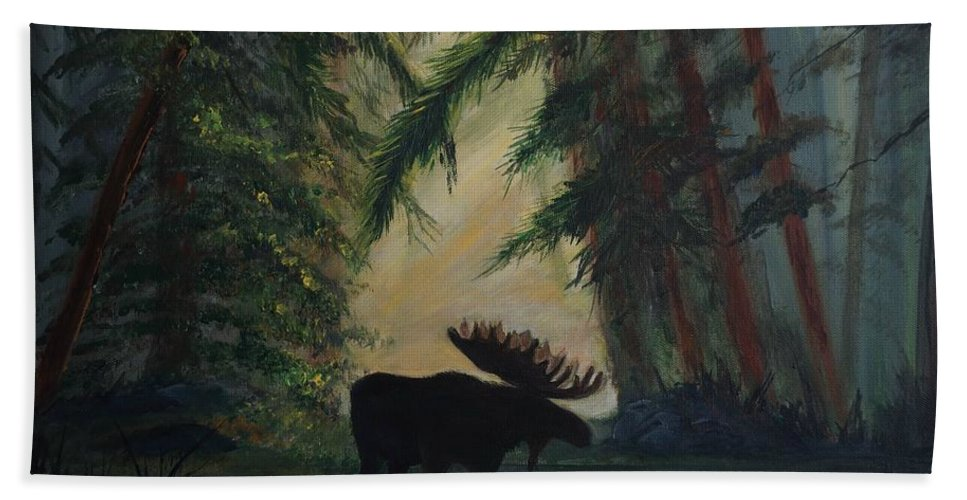 Moose Beach Towel featuring the painting Moose Pond Hideout by Leslie Allen