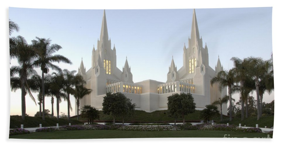 Mormon Beach Towel featuring the photograph Mormon Cathederal San Diego by Bob Christopher