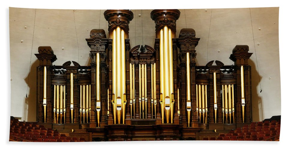 Mormon Beach Towel featuring the photograph Mormon Tabernacle Pipe Organ by Marilyn Hunt
