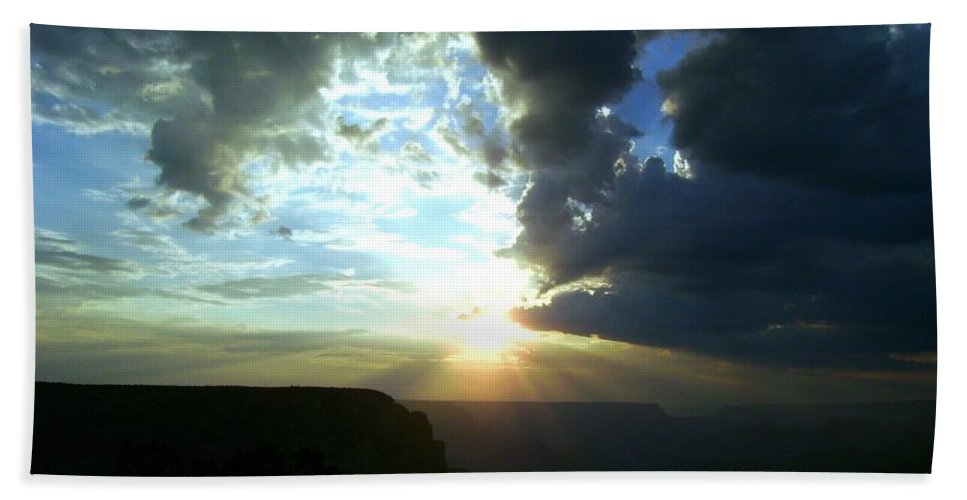 Sunrise Beach Towel featuring the digital art Morning Breaks At The Canyon by Barkley Simpson