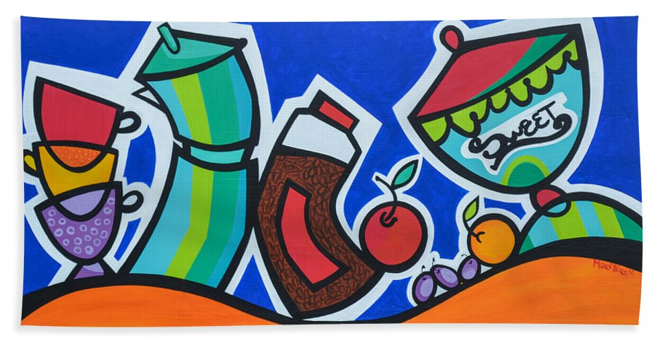Food And Beverages Beach Towel featuring the painting Morning Energy by Mary Tere Perez