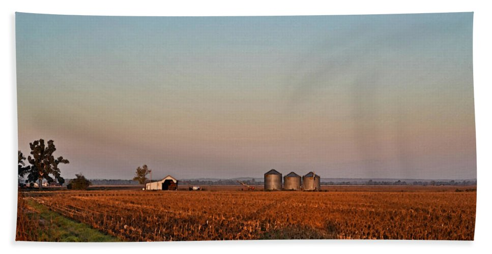 Scenery Beach Towel featuring the photograph Morning In The Heartland Watercolor Photoart I by Debbie Portwood