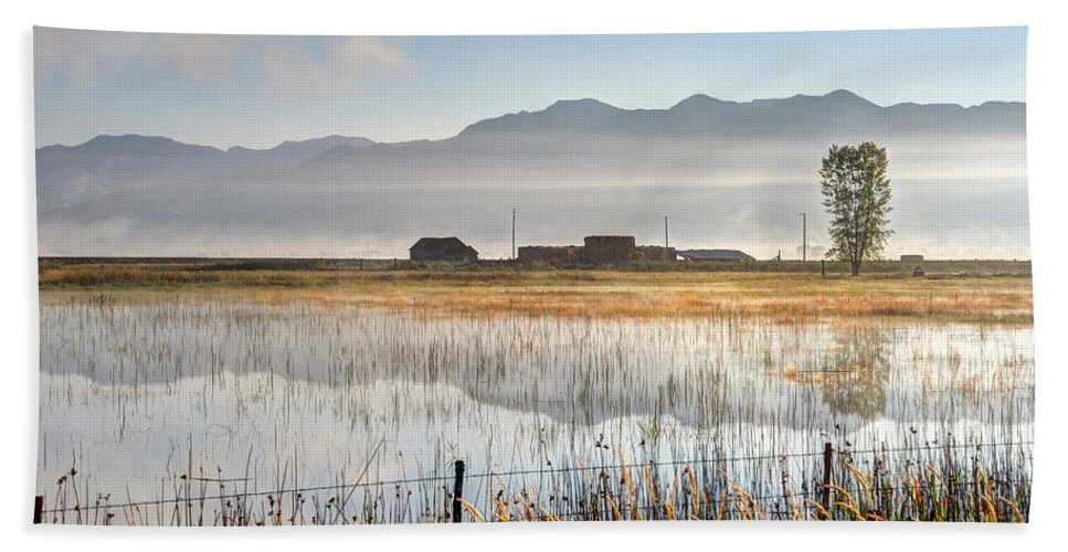 Cutler Beach Towel featuring the photograph Morning Mists Of Cutler Marsh - Utah by Gary Whitton