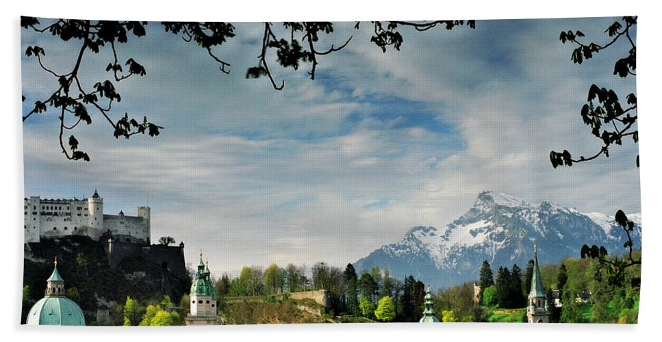 Salzburg Beach Towel featuring the photograph Morning View Of Salzburg From Kapuzinerberg by Greg Matchick