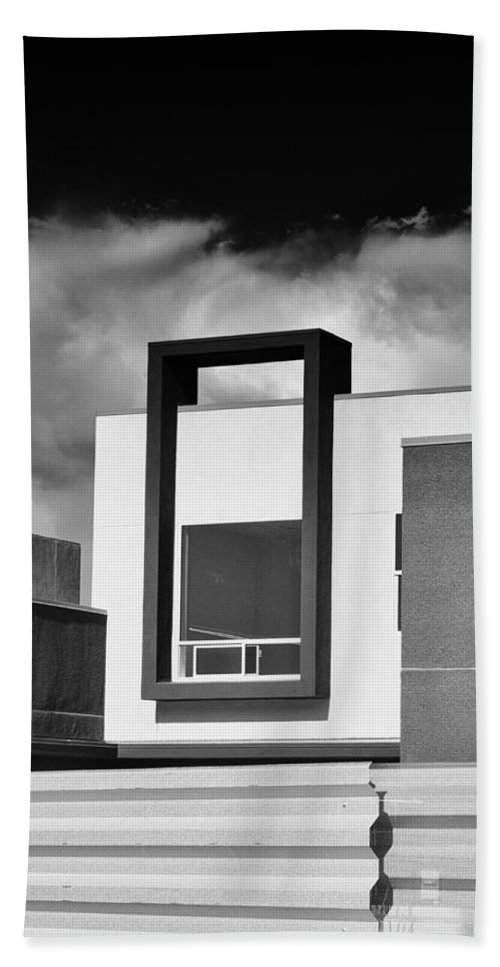 Morrison Beach Towel featuring the photograph Morrison Window Bw Palm Springs by William Dey