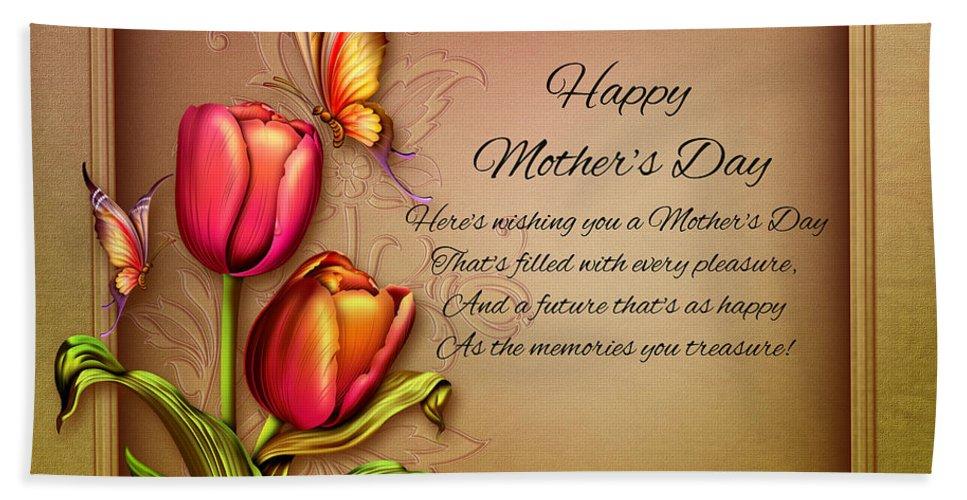 Mother's Day Art Print Beach Towel featuring the digital art Mother's Day by John Junek
