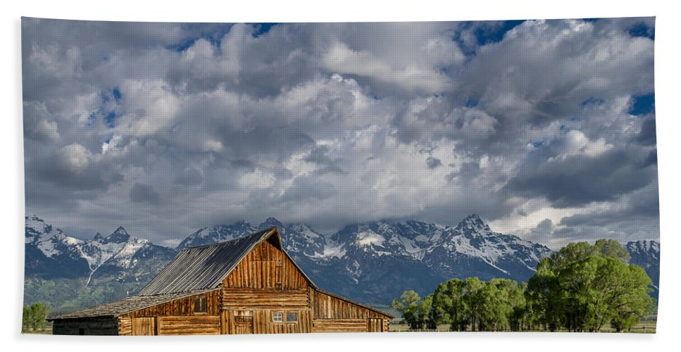 Grand Tetons National Park Beach Towel featuring the photograph Moulton Barn Morning by Greg Nyquist