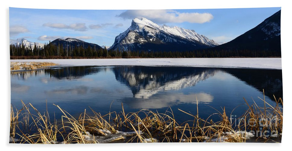 Mount Rundle Beach Towel featuring the photograph Mount Rundle In Winter by Vivian Christopher