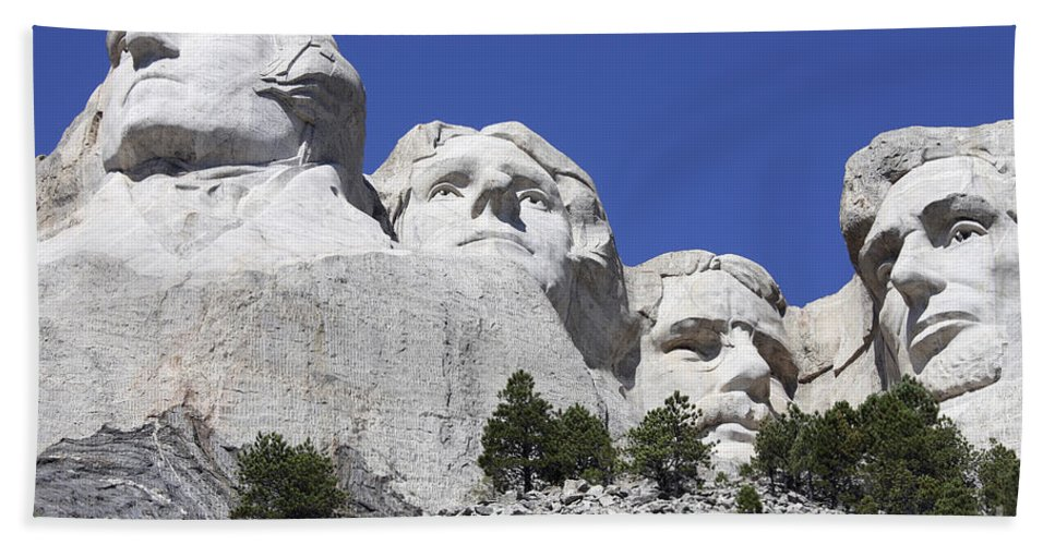 Low Angle View Beach Towel featuring the photograph Mount Rushmore National Memorial, South by Richard Roscoe
