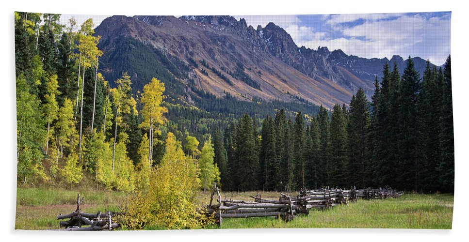 Landscape Beach Towel featuring the photograph Mount Sneffels And Fence by Greg Nyquist