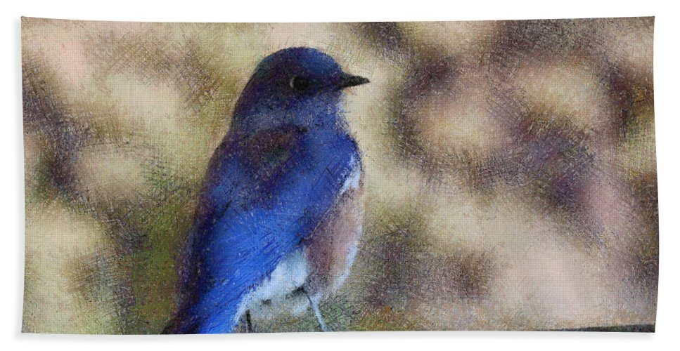 Mountain Bluebirds Beach Towel featuring the digital art Mountain Bluebird Painterly by Ernie Echols