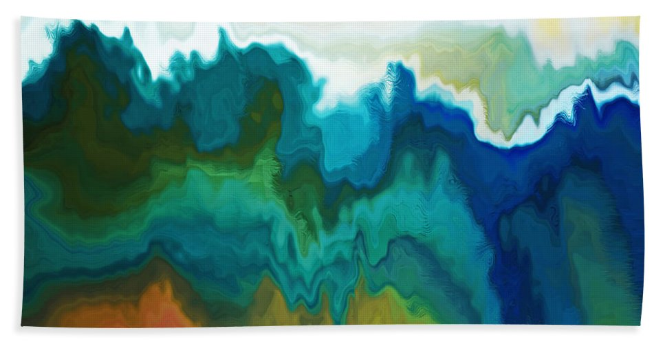Abstract Beach Towel featuring the digital art Mountainous by Ruth Palmer