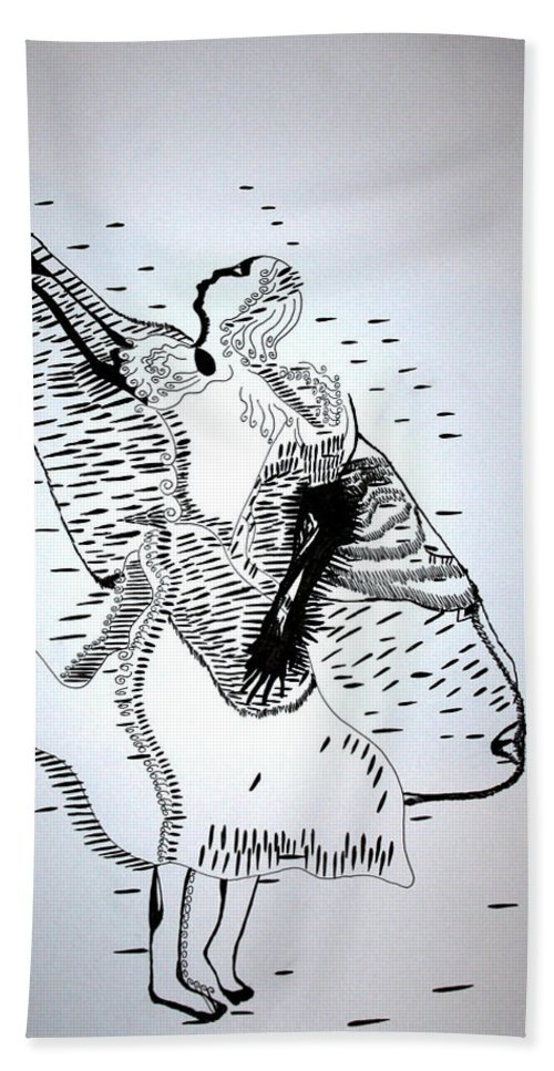 Jesus Beach Towel featuring the drawing Moutia Dance - Seychelles by Gloria Ssali