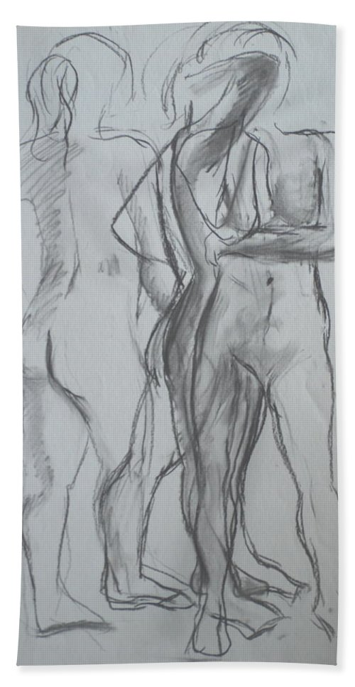 Conte On Paper Beach Towel featuring the drawing Movement Study by Jennifer Christenson
