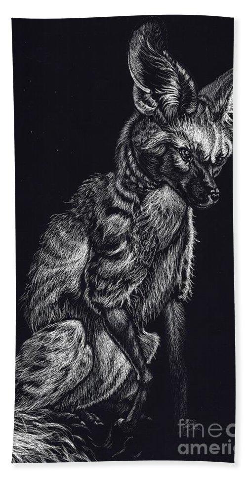 Bat Eared Fox Beach Towel featuring the drawing Mr. Big Ears by Yenni Harrison