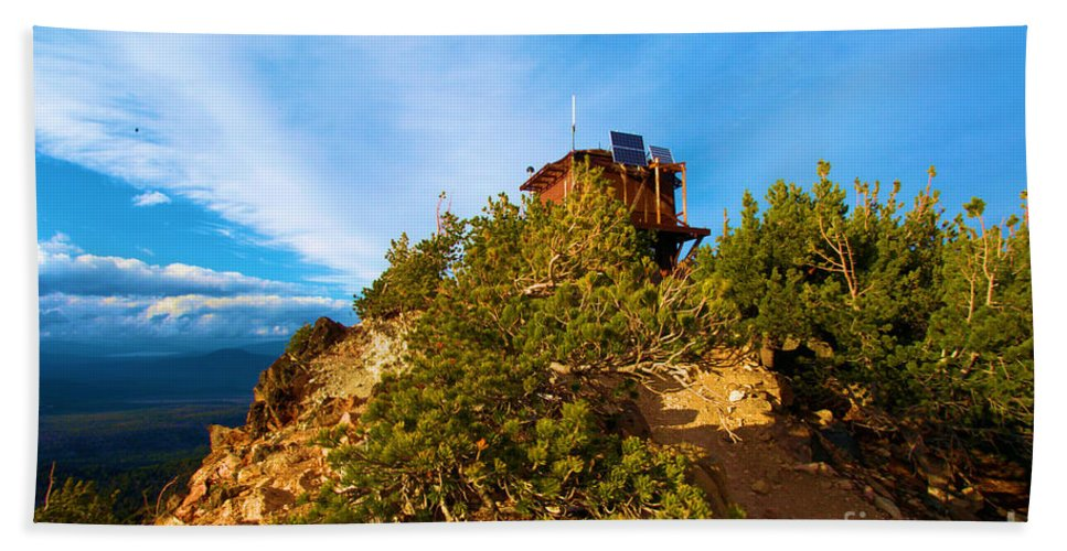 Crater Lake National Park Beach Towel featuring the photograph Mt Scott Fire Tower by Adam Jewell