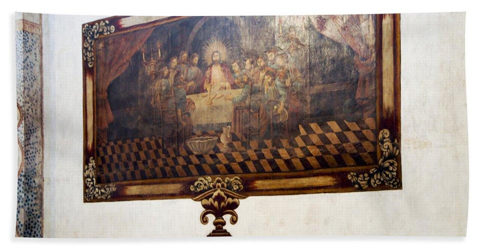 San Xavier De Bac Mission Beach Towel featuring the photograph Mural At San Xavier Mission by Jon Berghoff