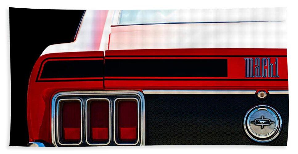 Mustang Beach Towel featuring the digital art Mustang Mach 1 by Douglas Pittman