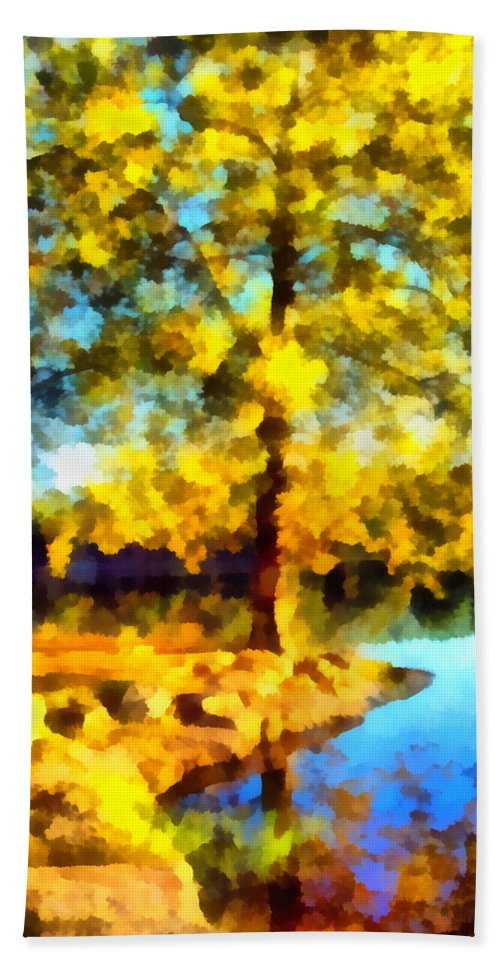 Tree Beach Towel featuring the photograph My Golden Impression by Angelina Vick