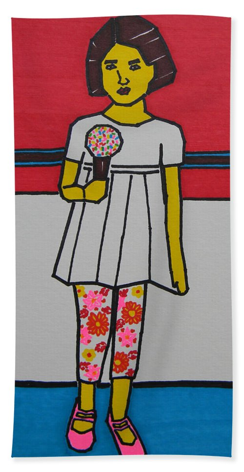 Ice Cream Beach Towel featuring the painting My Ice Cream by Marwan George Khoury