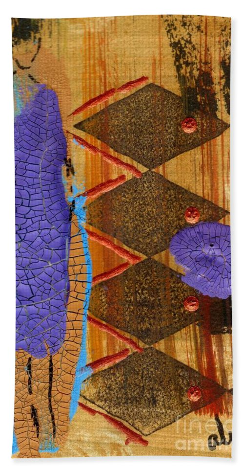 Abstract Beach Towel featuring the mixed media My New Purple Dress by Angela L Walker