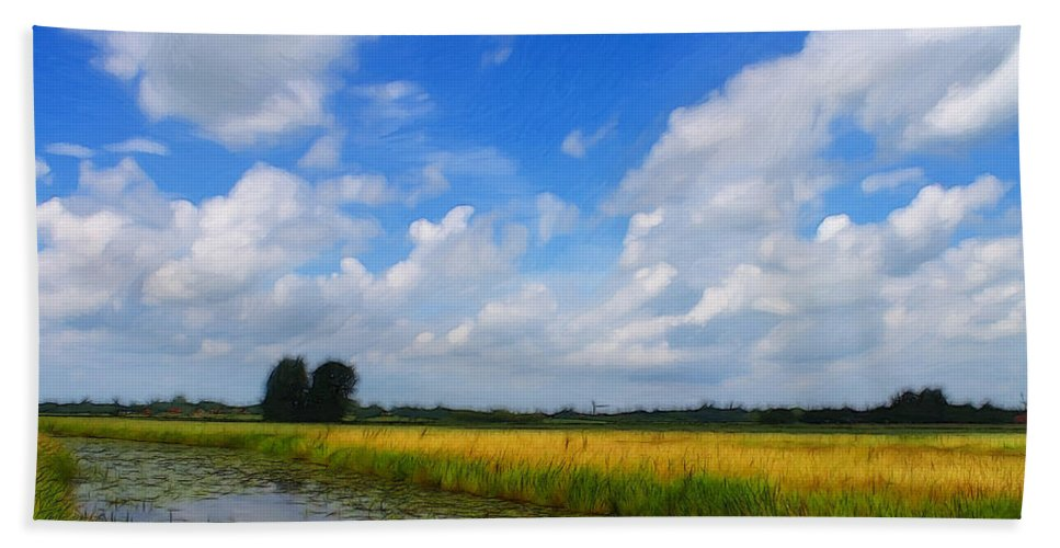 Germany East Frisia Open Range Cloud Clouds Landscape Water River Lily Waterlily Grain Beach Towel featuring the painting My Wonderful Eastfrisia by Steve K