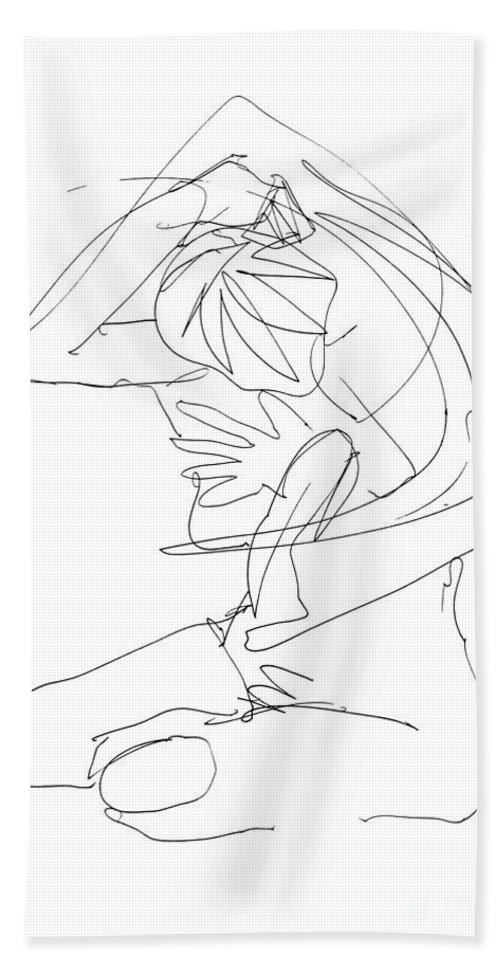 Females Beach Towel featuring the drawing Naked-female-art-23 by Gordon Punt