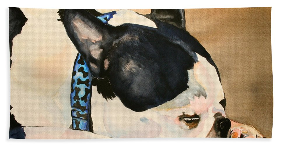 Dog Beach Towel featuring the painting Nap by Susan Herber