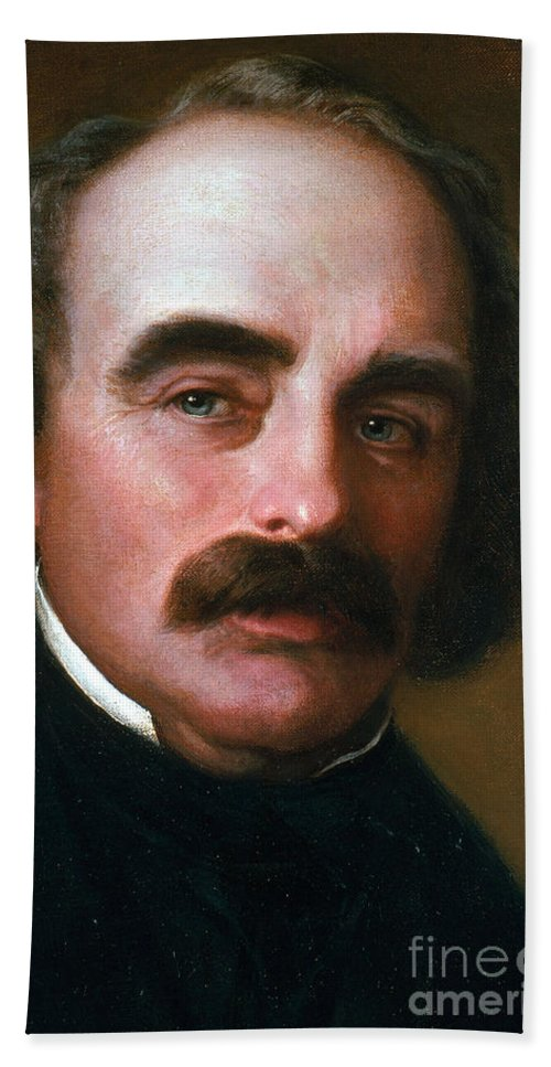 Painting Beach Towel featuring the photograph Nathaniel Hawthorne by Photo Researchers