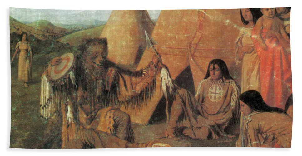 Art Beach Towel featuring the photograph Native American Medicine Man by Photo Researchers