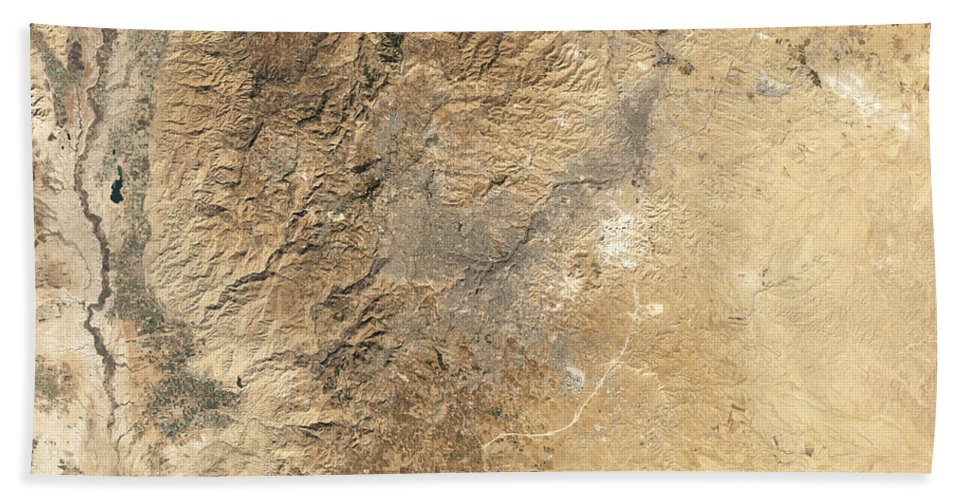 Valley Beach Towel featuring the photograph Natural-color Satellite View Of Amman by Stocktrek Images