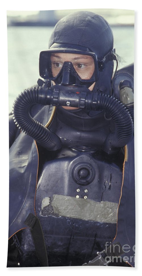 d4314bad204 Looking Away Beach Sheet featuring the photograph Navy Seal Combat Swimmer  Wearing by Michael Wood
